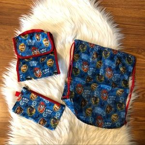 Nickelodeon Paw Patrol LOT of 3 Pencil Lunch Bags